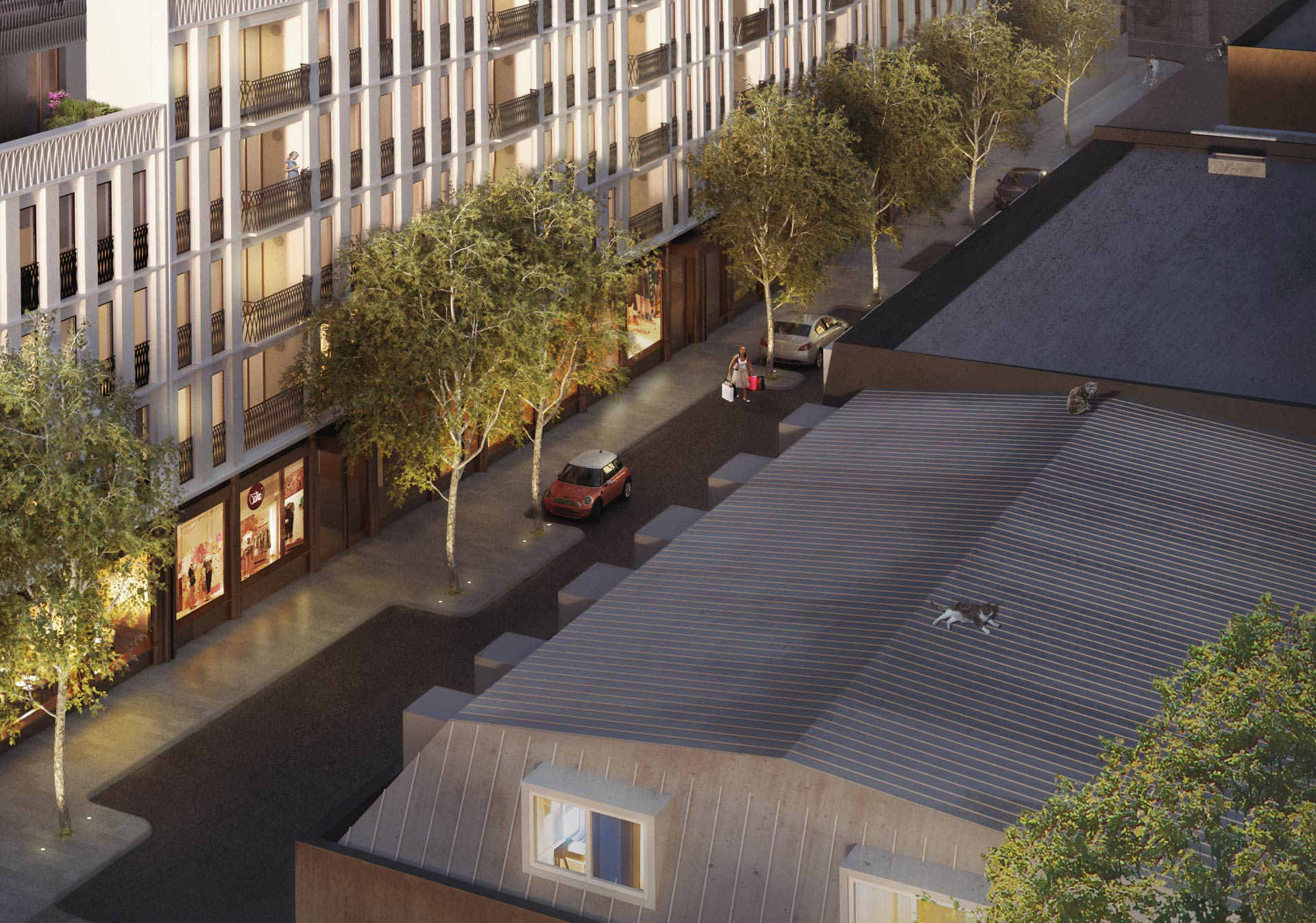 3d visualization of a new development on Moxon street in London - crop on the roof