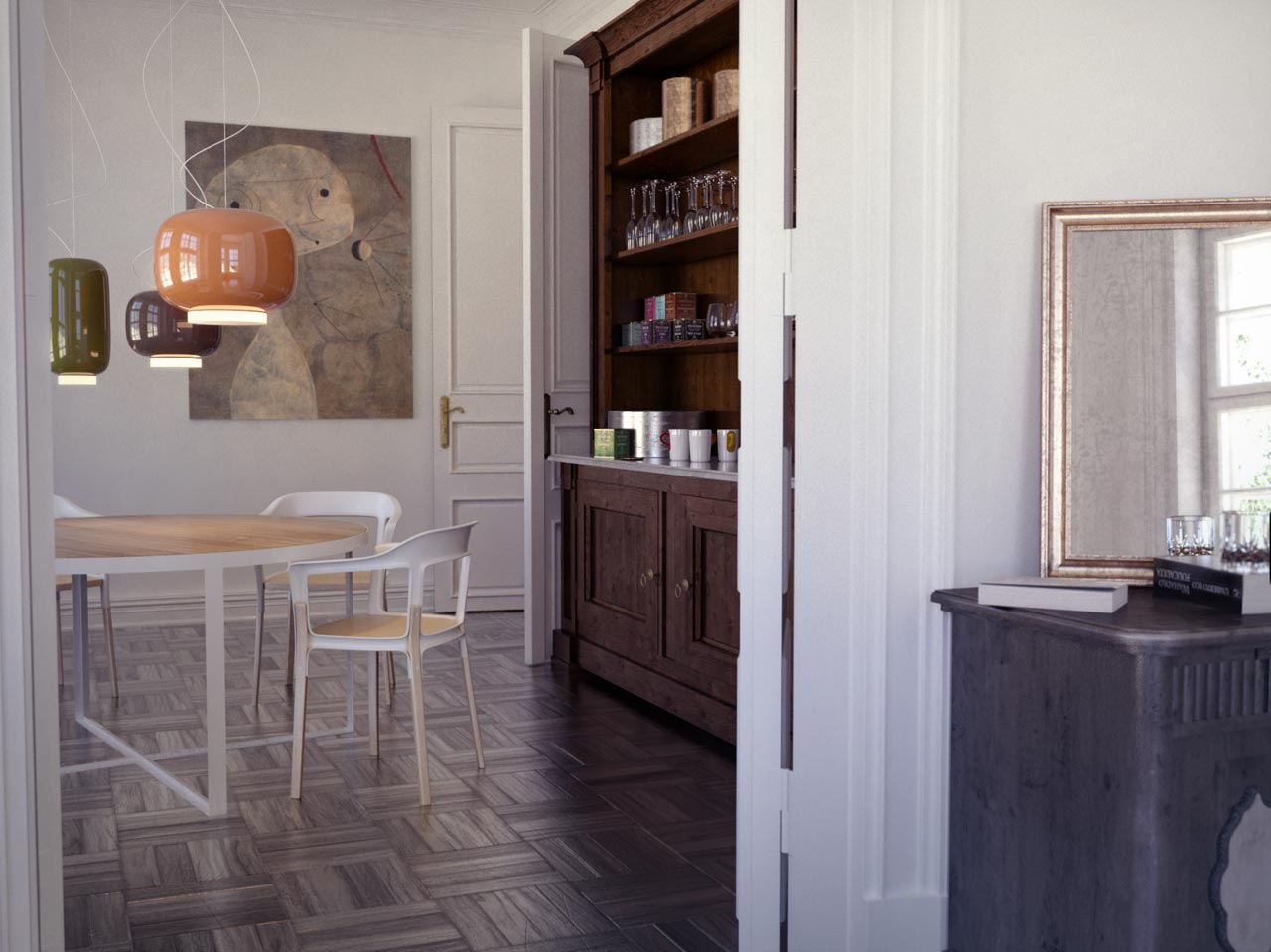 3D interior visualization - vintage dining room