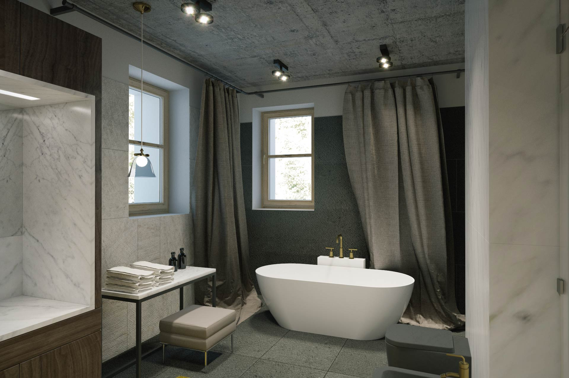 Visualization - bathroom in detached house