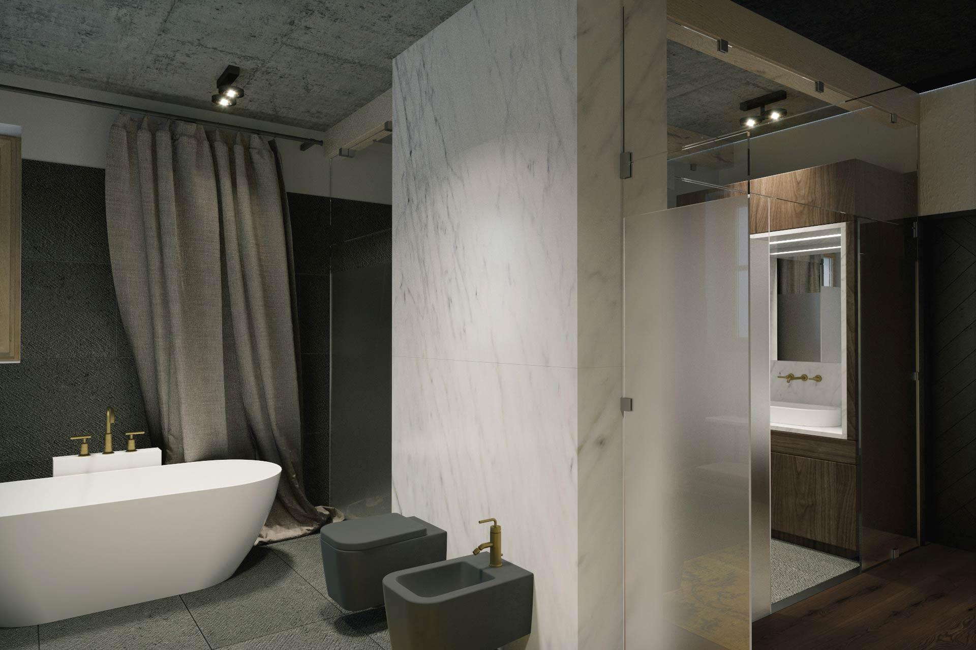Wizualizacja 3D łazienki w luksusowym domu jednorodzinnym