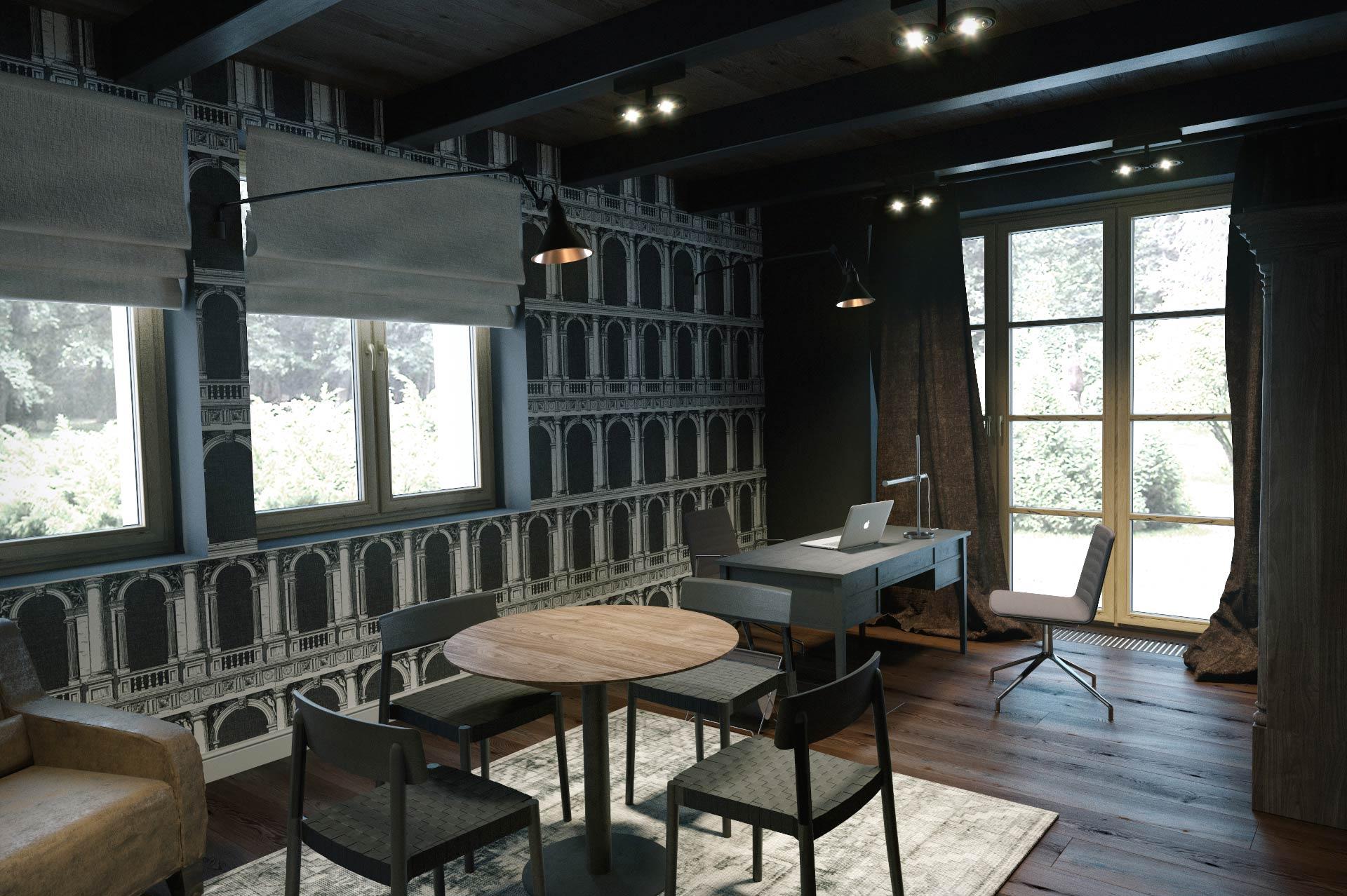Wizualizacja 3D - gabinet - luksusowy dom jednorodzinny