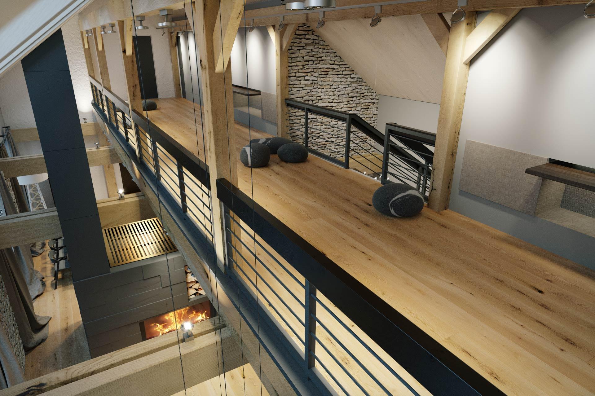Wizualizacja 3D - piętro - luksusowy dom jednorodzinny