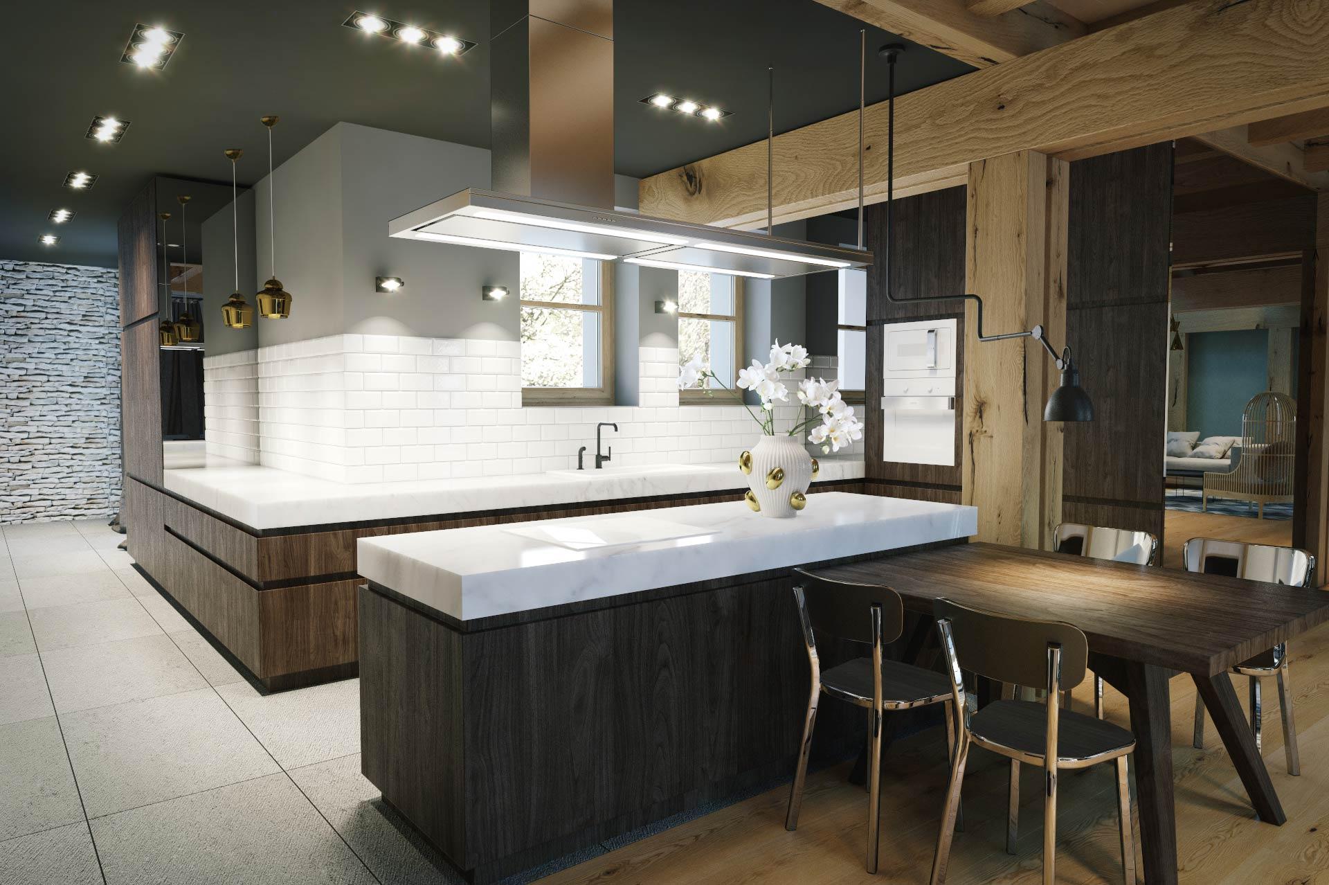 Wizualizacja 3D - kuchnia - luksusowy dom jednorodzinny