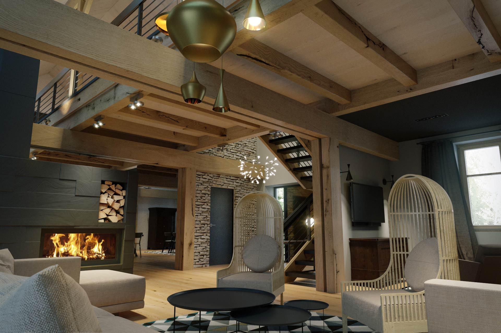Wizualizacja 3D - salon - luksusowy dom jednorodzinny