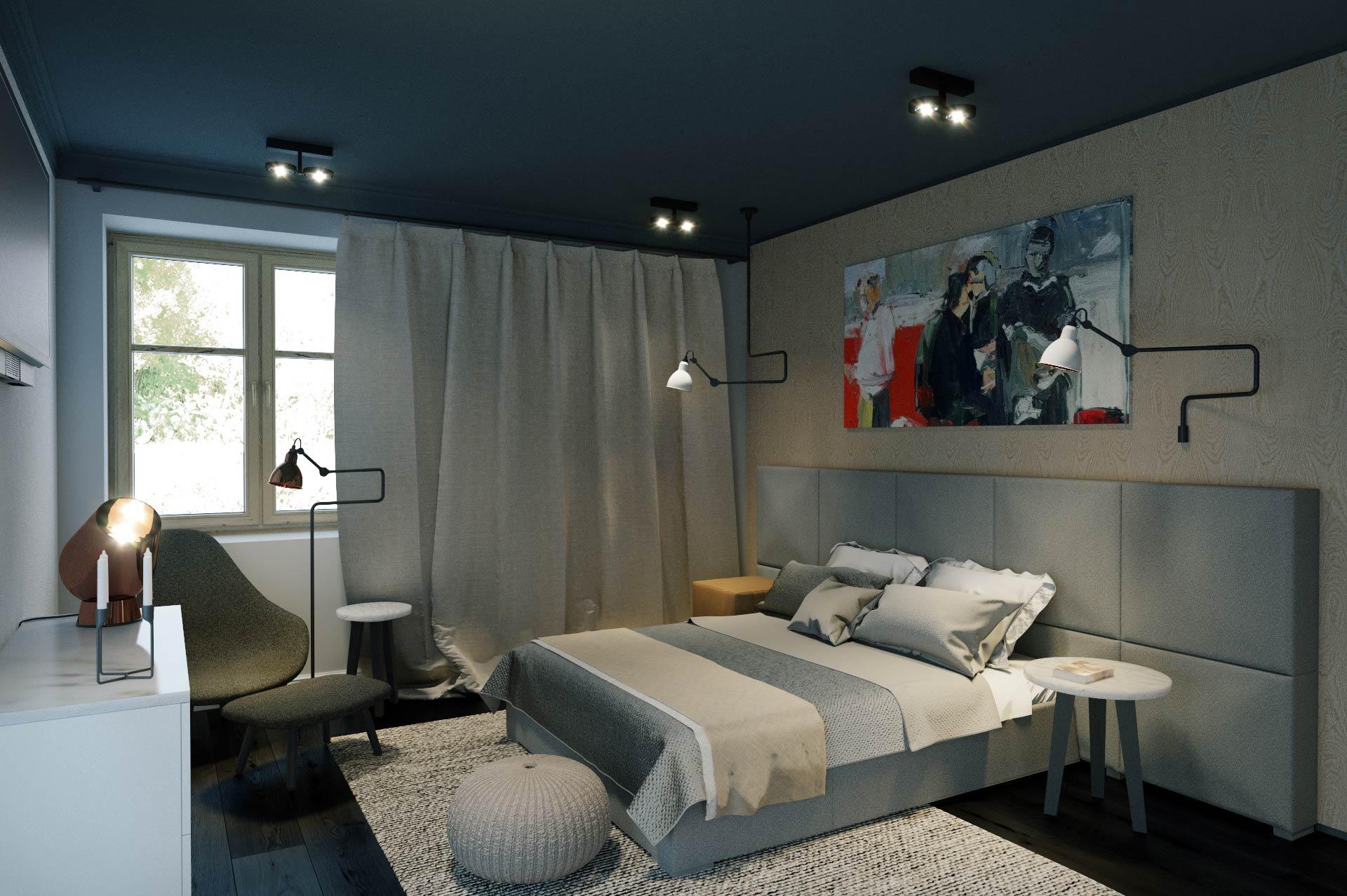 Wizualizacja 3D - sypialnia - dom jednorodzinny