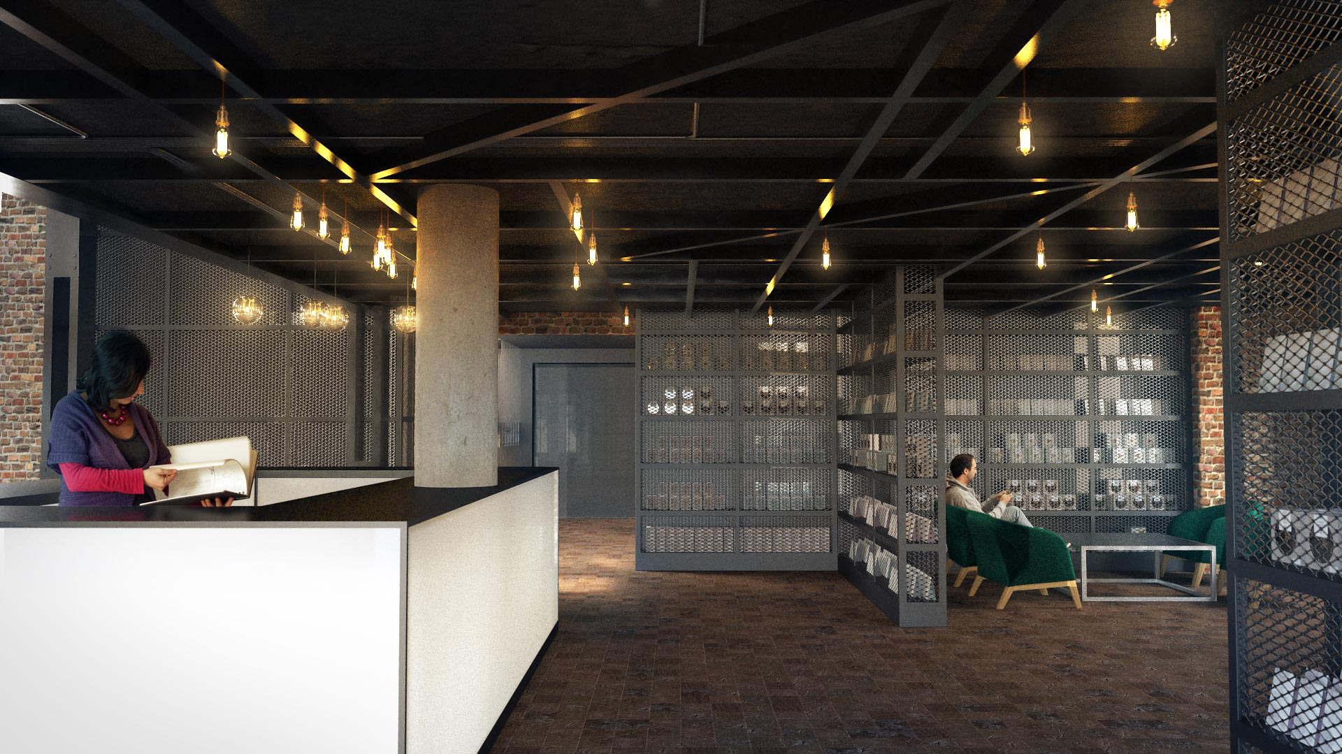 Wizualizacja 3D recepcji w Hotelu Almond