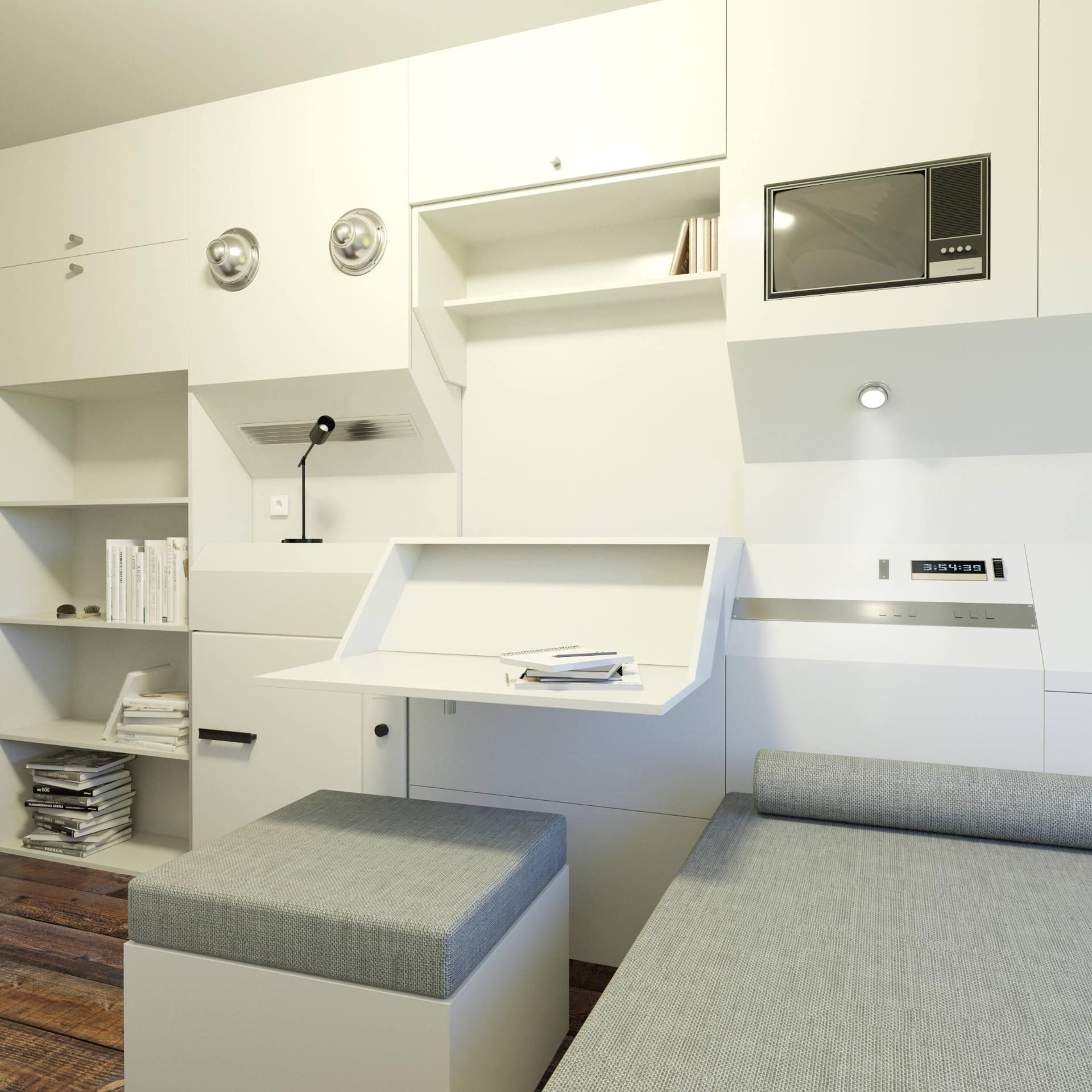 Nakagin Capsule - wizualizacja 3D prezentujące mini biuro kapsułowego hotelu