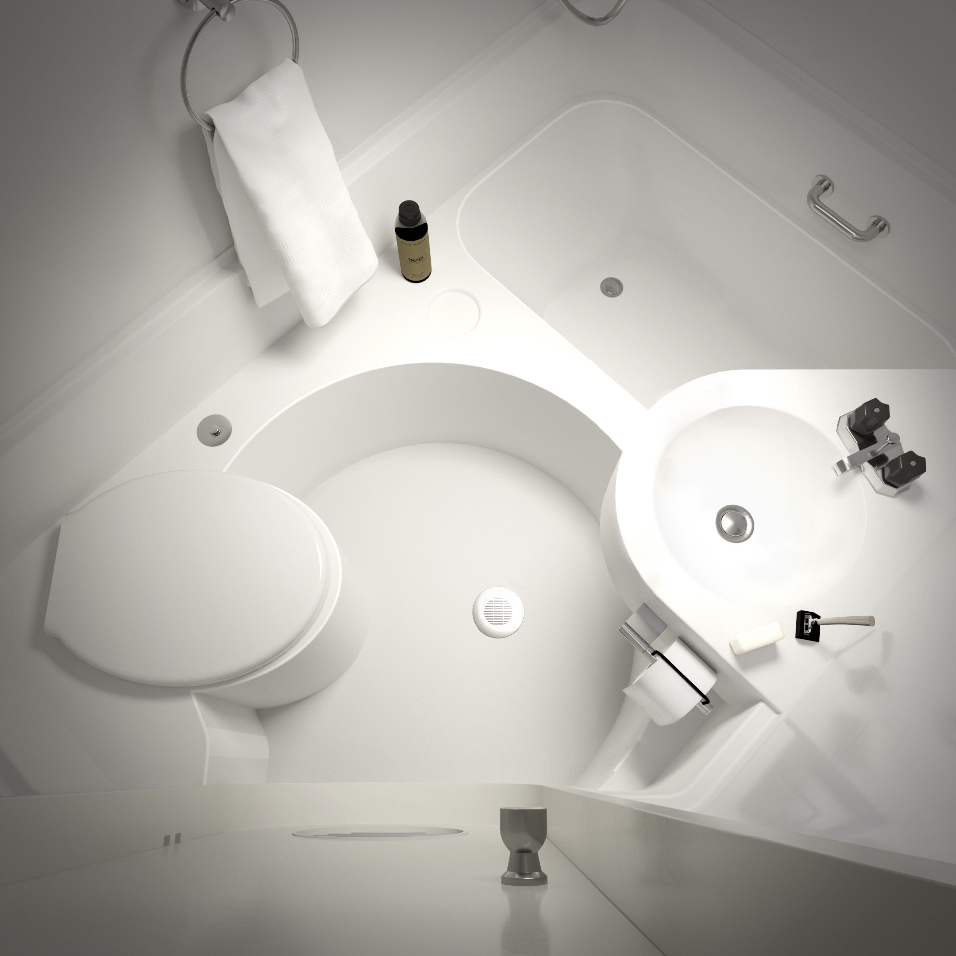 Nakagin Capsule - wizualizacja 3D prezentujące łazienkę kapsułowego hotelu