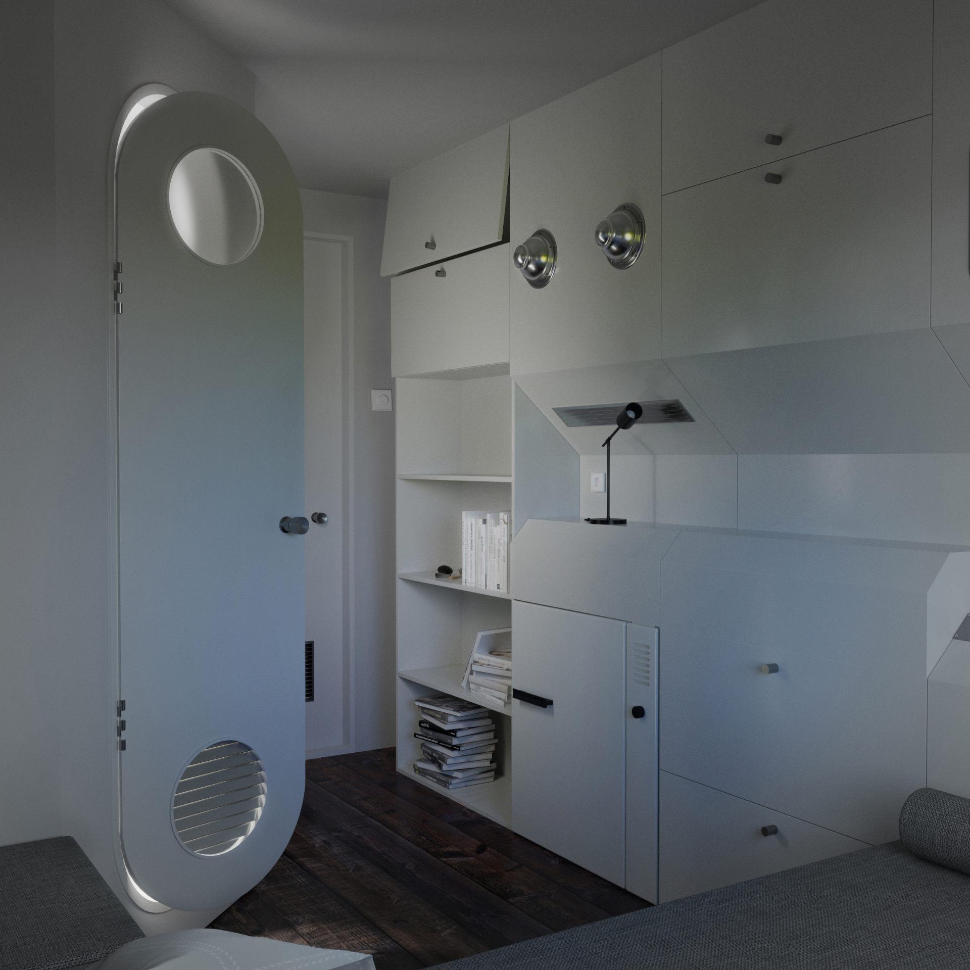 Wizualizacja 3D Nakagin Capsule - wnętrze kapsułowego hotelu