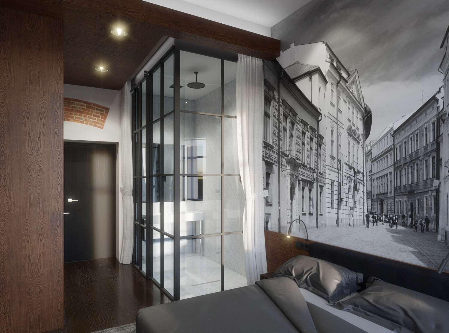 Hotel room in black and white - 3D visualization
