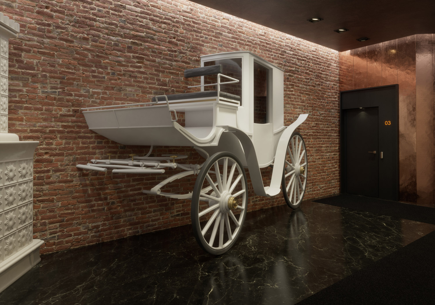 3D vizualization of a hotel interior with white horse-drawn carriage