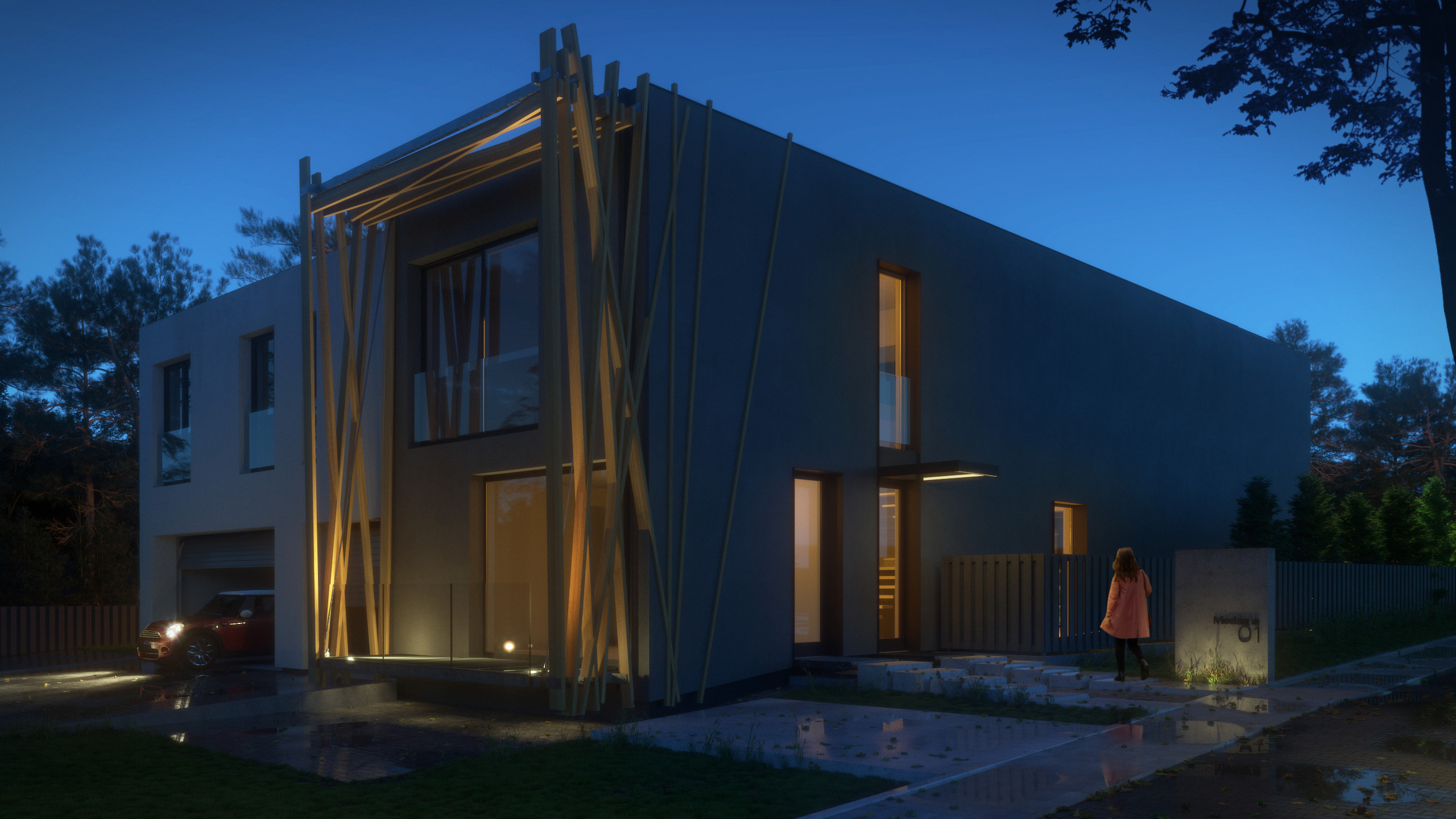 Visualization of a detached house by night - exterior