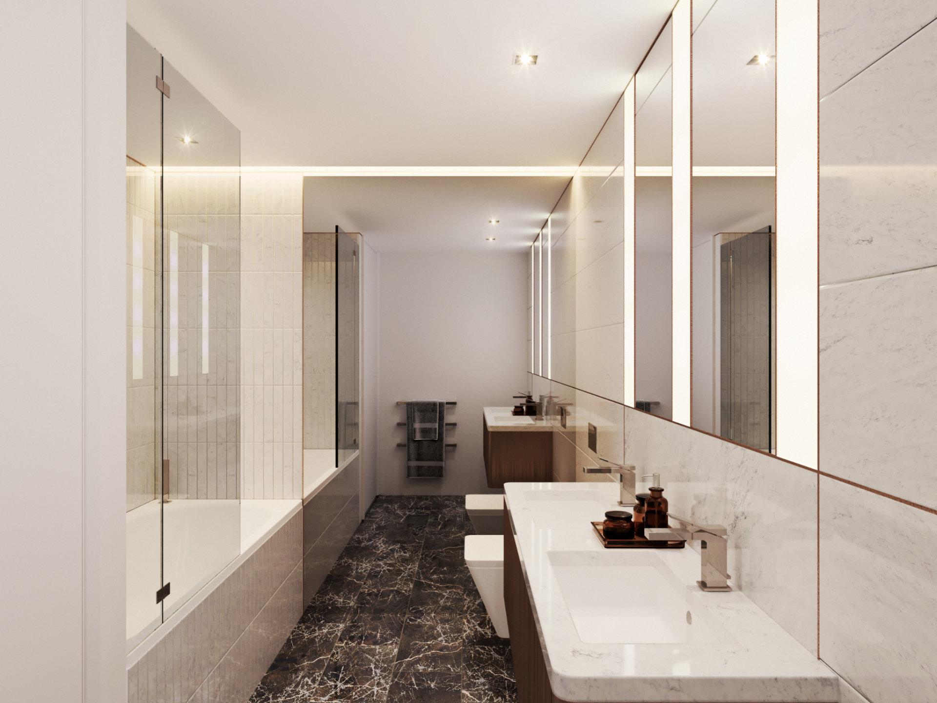 Wizualizacja 3D łazienki w inwestycji deweloperskiej w Londynie