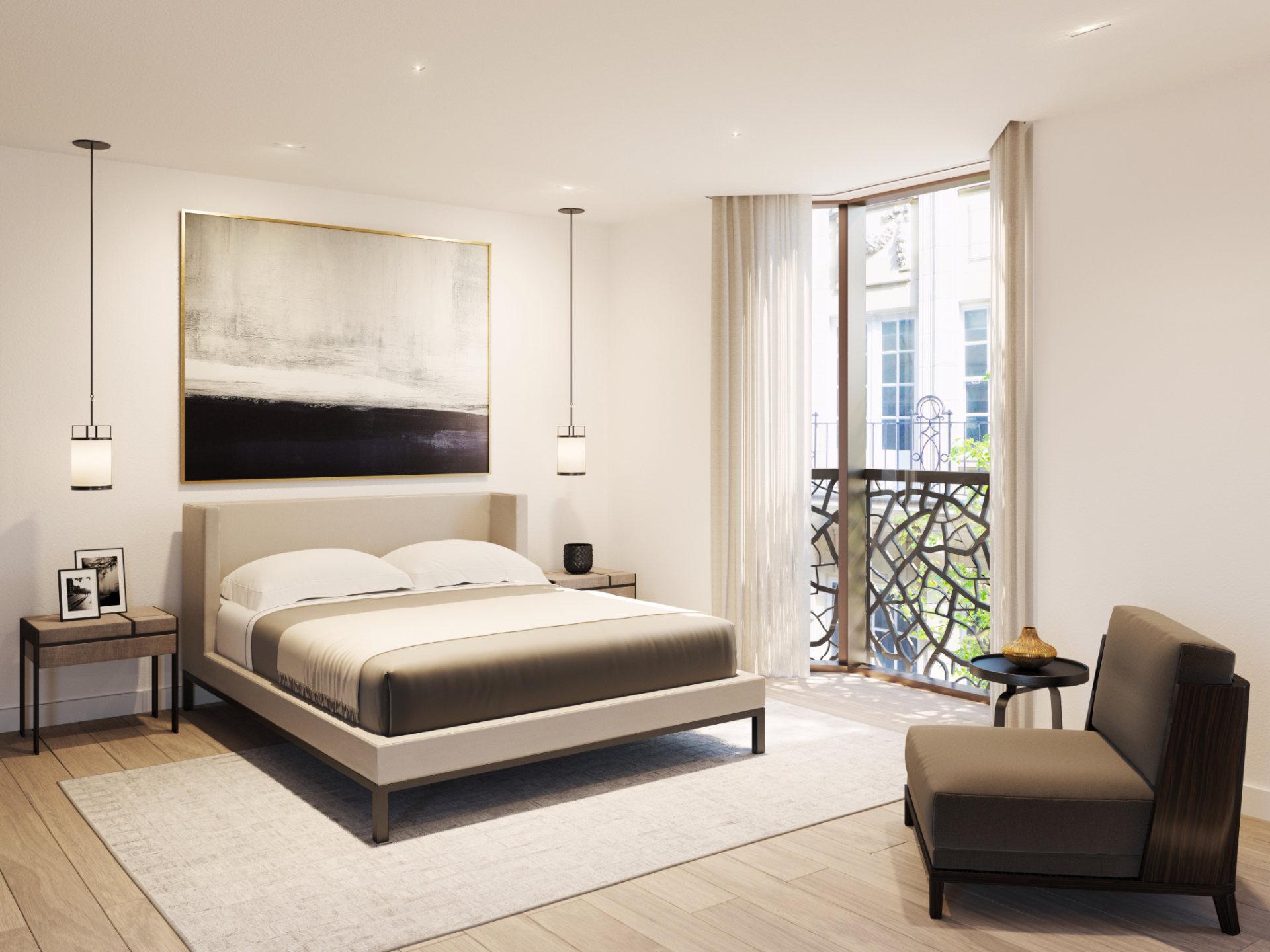 Wizualizacja 3D sypialni w inwestycji Great Portland Street London