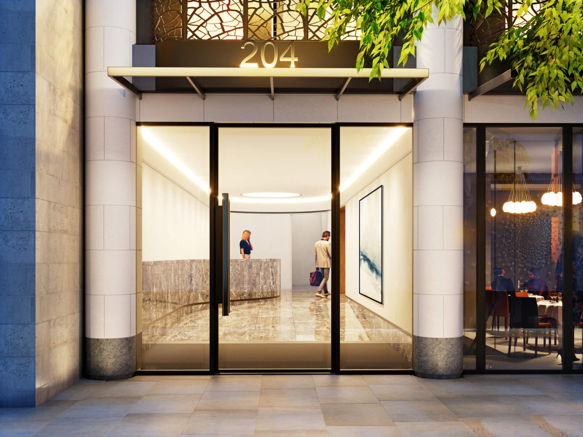 Wizualizacje budynku mieszkalnego na Great Portland Street - widok na recepcję budynku